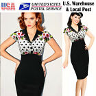 Womens Elegant Vintage Floral Lapel Ruched Work Prom Bodycon Dress Fast Shipping