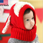 Winter Baby Kids Girls Boys Cute Ears Woolen Warm Coif Hood Scarf Caps Hats US