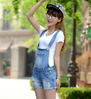 Womens Distressed Washed Jeans Denim Hole Jumpsuit Romper Crimping Overall DR626