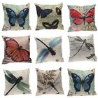 """18"""" Butterfly/Dragonfly Pattern Square Cushion Cover Cotton&Linen Pillow Case"""