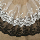 2017New Style 1Yd Vintage White Black Wide Lace Fabric Trim Tulle Bridal Wedding