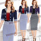 Womens Vintage Pinup Contrast Wear to Work Party Prom Cocktail Bodycon Dress 390