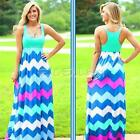 Sexy Women Summer Sleeveless Boho Stripe Waisted Party Long Maxi Dress Skirts