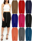 Ladies Ponte Long Front Zip Midi Skirt Womens Casual Bodycon Tube Plus Size 8-22