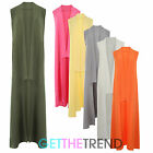 WOMENS SLEEVELESS COLLAR COAT LADIES LONG DUSTER WAISTCOAT GILET CAPE JACKET