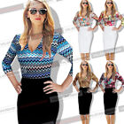 Womens Sexy Plunge Leopard Floral Printed Career Casual Fitted Top Blouse 5021