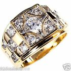 6mm 1.45 Ct April Clear CZ Birthstone Gold Plated Men's Ring Jewelry Size 7-15