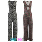 Womens Tie Front V Neck Palazzos Jumpsuit Ladies Jersey Paisley Long All In One