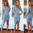 Sexy Womens Long Sleeveless Backless Bodycon Bandage Asymmetric Party Mini Dress