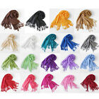 New Lady Women Soft Solid Scarves Warm Winter Long Wrap Scarf Tassels