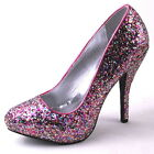 NEW WOMENS PINK MULTICOLORED SILVER GLITTER HIGH HEEL PUMP