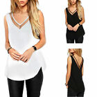 Women Summer Casual Loose Chiffon V-Neck Vest Sleeveless Tank T-Shirt Top Blouse