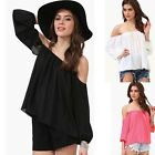 Fashion Women Sexy SUMMER Blouse Off-Shoulder Sleeve Party T-Shirt Solid Tops
