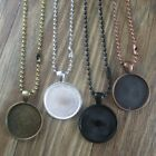 """5 Sets Metal Round Cabochon Bezel Pendant Setting 25mm with Ball Chain 70/27.5"""""""