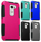 Boost Mobile LG Tribute 2 MESH Hybrid Silicone Rubber Skin Case Protector Cover