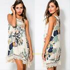 Women Floral Summer Beach Boho Sleeveless Lace Loose Casual Party Dress Sundress