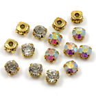 'AAA' GOLD SEW ON CLEAR & AB CRYSTAL GLASS RHINESTONES '6 SIZES* DIAMANTE GEMS