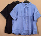 LANDS' END stretch button RUFFLE front BLOUSE szs 32w & 34w PICK color