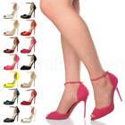 WOMENS LADIES HIGH HEEL STILETTO PEEP TOE ANKLE STRAP PARTY SANDALS SHOES SIZE