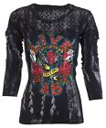 AFFLICTION Womens LS T-Shirt Top LOVE GUN Tattoo BLACK LACE Biker UFC Sinful $68