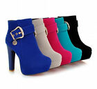 Women's Black Round Toe Ankle Strap Shoes High Heel Platform Chunky Boots Size