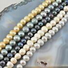 "9x9mm Natural Freshwater Pearl Round Beads Big Hole 8"", pick your color"