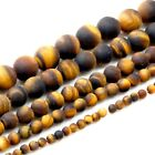 "Natural Tigereye matt Round beads 15"" 4,6,8,10mm pick your size"