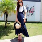 Women Slim Long Suspender Skirt Chiffon Summer Beach Pure Color Dress