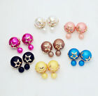 Fashion Candy Color Rainbow Double Side Two Ball Earrings Stud Star Hollow Out