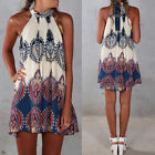 Women Summer Boho Halterneck Chiffon Evening Party Short Beach Dress