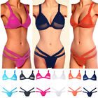 Women Sexy Bandage Briefs Bikini Set Bra Triangle Swimsuit Swimwear Mesh Top UK