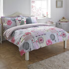 Paoletti Eden Floral Print Pink Butterfly Cotton Duvet Quilt Cover Bedding Set