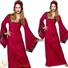 Ladies Red Medieval Princess Queen Womens Outfit Fancy Dress Costume