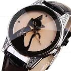 Fashion Elegant Women Girl Crystal Cat Leather Anaglog Sport Quartz Wrist Watch