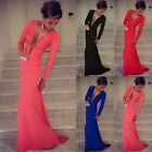 BEST PRICE Women Long Sleeve Prom Ball Cocktail Party Dress Evening Gown EW