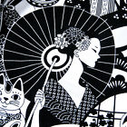 Daiwabo, Lucky Cat, Wicked Ladies, Geishas in Black & White Cotton Fabric