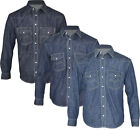 New Mens Classic Denim Shirt Long Sleeve Work Heavy M-XXL