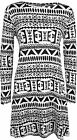 New Womens Monochrome Aztec Tribal Print Long Sleeve Top Ladies Swing Dress 8-14