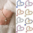 Fashion Love Crystal Rhinestone Women  Bracelet Infinity Charm Chain Silver Gold