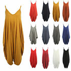 Ladies Womens Italian Plain Viscose Cami Linen Cotton Jumpsuit Playsuit  Dress