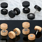 Organic Wood 16g Steel Fake Cheater Ear Plugs Barbell Studs Earrings Mens Womens