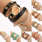 New Women Girls Classic Crystal Numerals Leather Strap Bracelet Wrist Watch ItS7