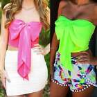 Women Casual Beach Strapless Bowknot Sleeveless Slim Stretch Crop Tops Clubwear
