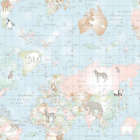 Lifestyle Animal Planet World Map Wildlife 100% Cotton Fabric 140cm Wide
