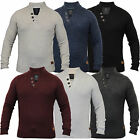 Mens Wool Mix Jumper Threadbare Cable Knitted Top Funnel Neck Pullover Winter