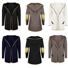 BRAND NEW WOMEN'S COAT SUEDE ELBOW PATCH HEM TRIM HOODED CARDIGAN COAT