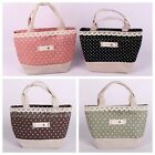 Polka Dots Zakka ECO Grocery Tote Storage Shopping Bag Handbag Linen SNGW023