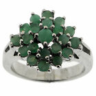 925 Sterling Silver 1.75 Ct Emerald Ring Size 6.5 US