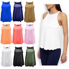 BRAND NEW LADIES HIGH NECK SCALLOP SLEEVELESS VEST WOMEN'S BLOUSE SUMMER TOP