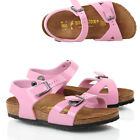 KIDS GIRLS BIRKENSTOCK RIO KINDER FLAT PINK PATENT LEATHER FOOTBED SANDALS SIZE